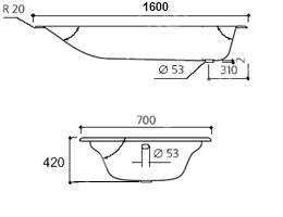 Ванна Aqualux чугунная 160х70