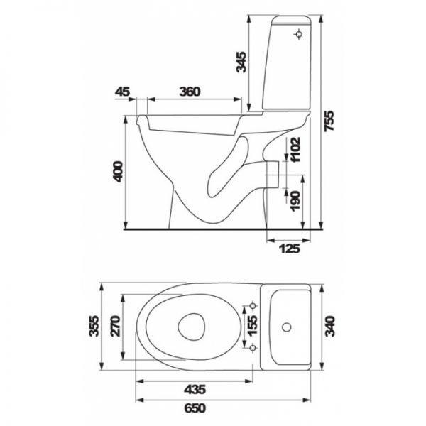 Унитаз-компакт Cersanit EKO soft close (микролифт)