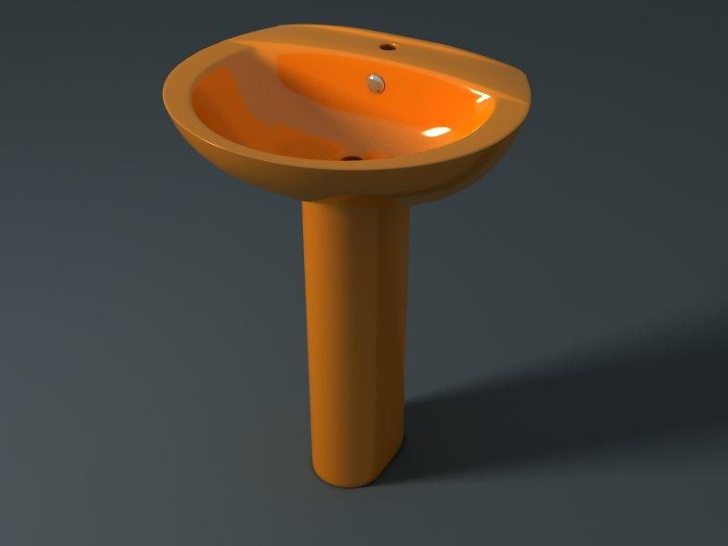 Умывальник с пьедесталом STYLE (оранжевый)