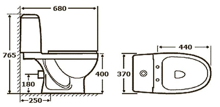 Унитаз-компакт STYLE (серый 45°и 90°)